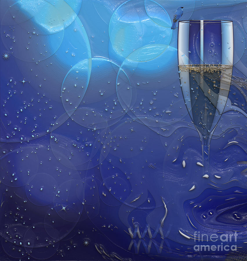 Champagne Digital Art - Champagne Blue  by Liane Wright