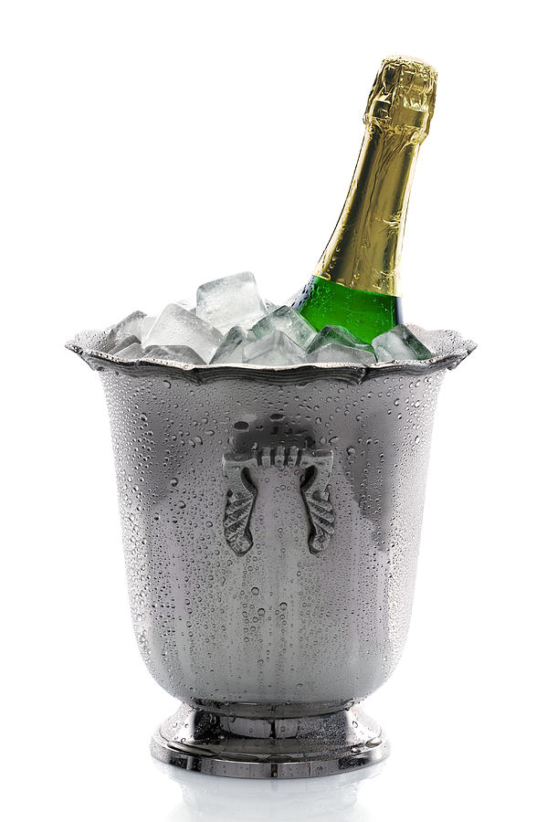 Champagne Photograph - Champagne Bottle On Ice by Johan Swanepoel