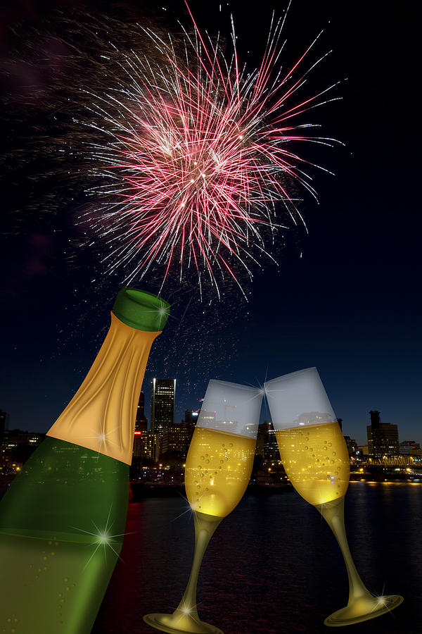 Champagne Photograph - Champagne Toast With Portland Oregon Skyline by JPLDesigns