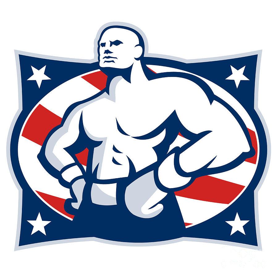 Boxer Digital Art - Champion American Boxer Akimbo Retro by Aloysius Patrimonio