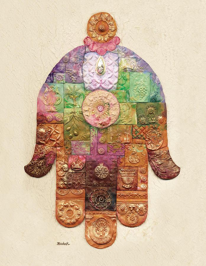 Ancient Painting - Chamsa by Michoel Muchnik