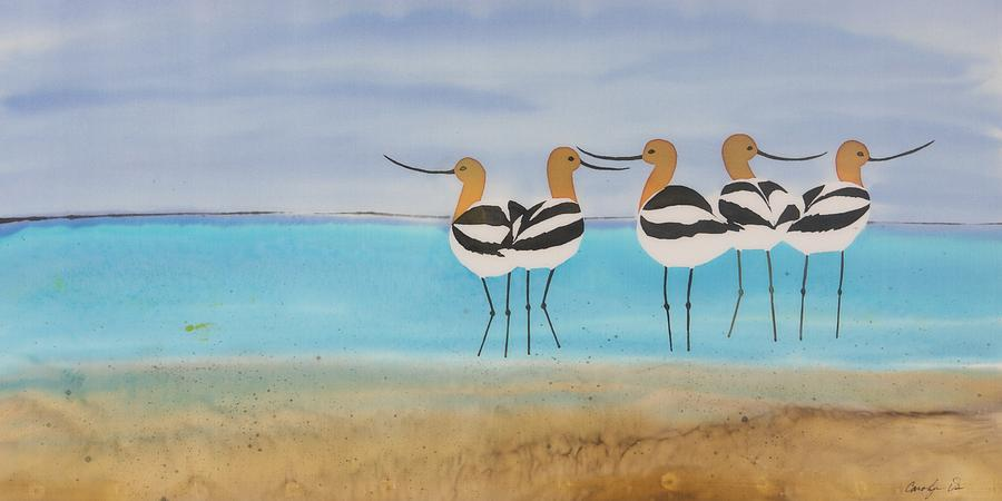 Avocets Tapestry - Textile - Chance Encounter At The Beach by Carolyn Doe
