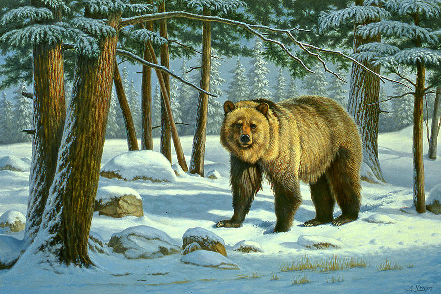 Wildlife Painting - Chance Encounter - Grizzly by Paul Krapf
