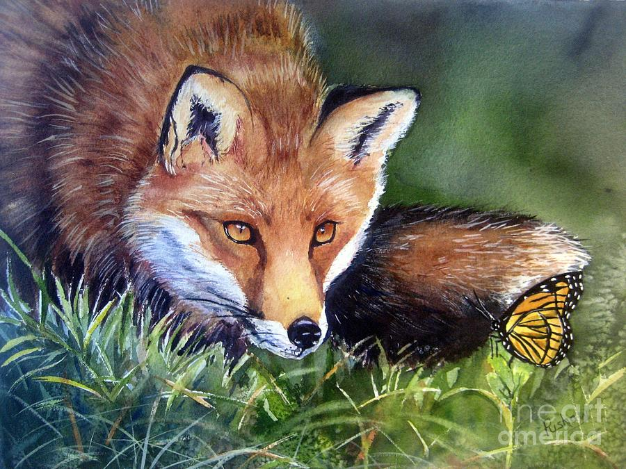 Fox Painting - Chance Encounter by Patricia Pushaw