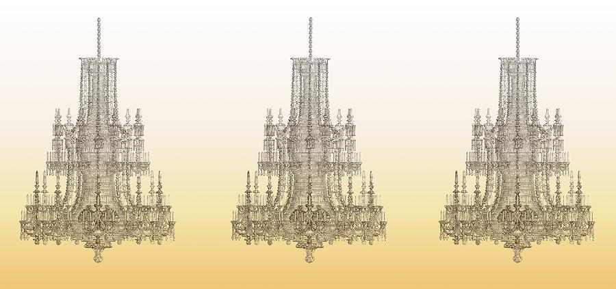 Chandelier Photograph - Trio Of Crystal Palace Chandeliers In Gold by Suzanne Powers