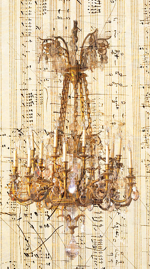 Chandelier Photograph - Chandelier With Franz Liszt Music Score by Suzanne Powers