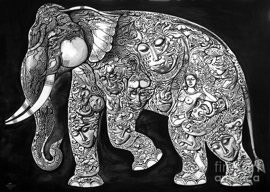 Thai Elephants  Painting - Chang by Kritsana Tasingh