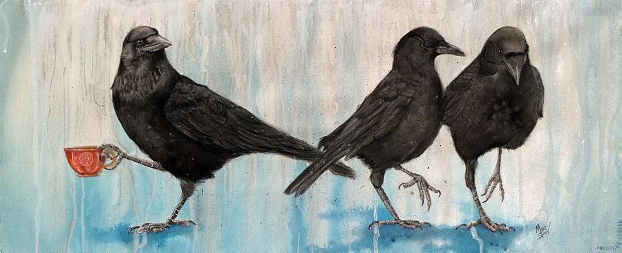 Crows Painting - Crow Takes Tea by Marie Stone Van Vuuren