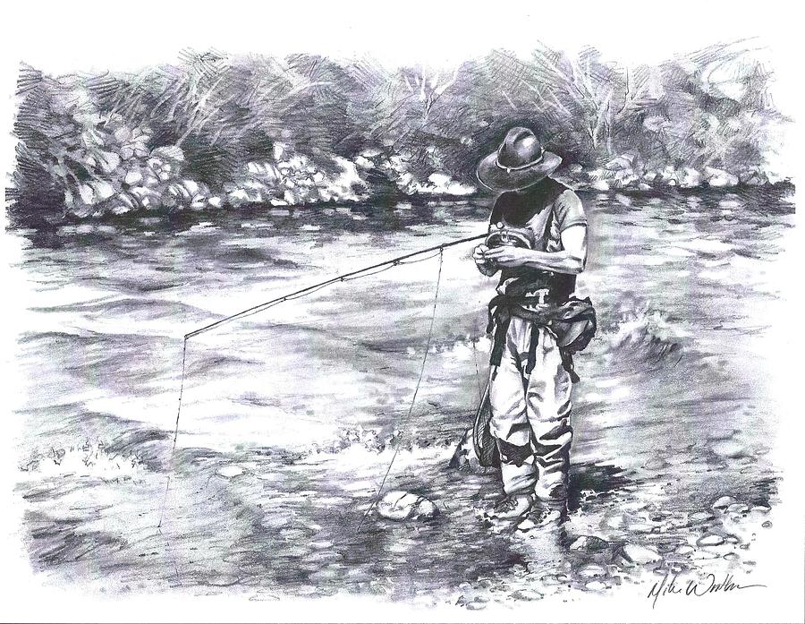 Flyfishing Drawing - Change Up by Mike Worthen