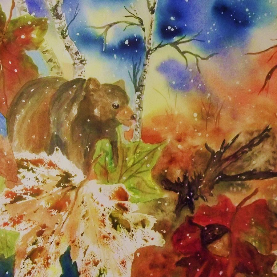 Bear Painting - Changing Of The Seasons - Square Format by Ellen Levinson