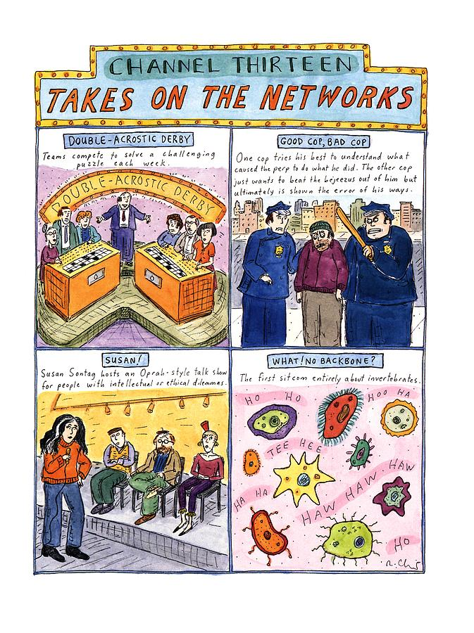 Channel Thirteen Takes On The Networks Drawing by Roz Chast