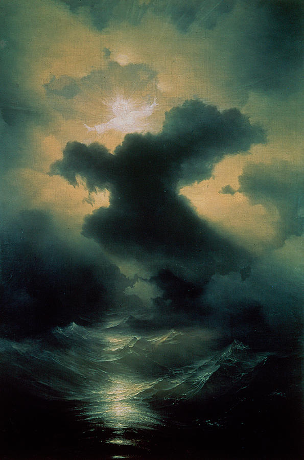 Parting; Waves; Water; Sea; Sky; Heavens; God; Genesis; Biblical; Storm; Power Painting - Chaos The Creation by Ivan Konstantinovich Aivazovsky