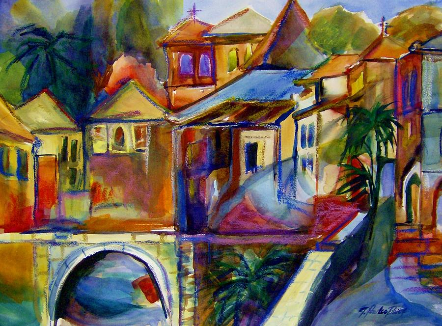 Villas Painting - Chapel and Village Abstract SOLD by Therese Fowler-Bailey