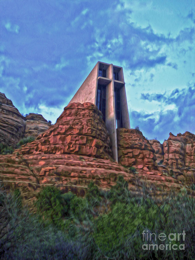 Sedona Arizona Painting - Chapel Of The Holy Cross - Sedona Arizona by Gregory Dyer
