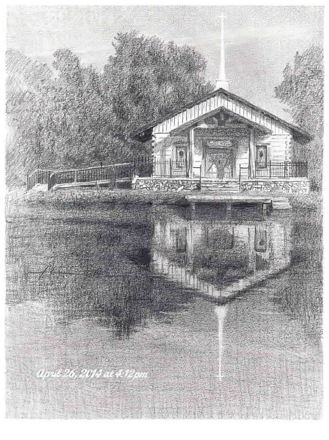 Chapel On A Lake Pencil Portrait Drawing by Mike Theuer