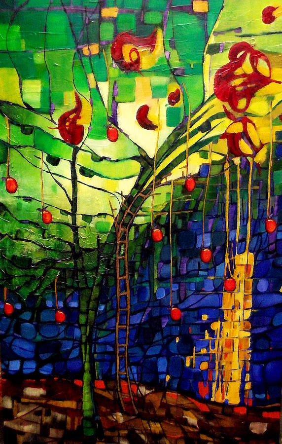 Stained Glass Painting - Chapple Tree by Liz Weibler