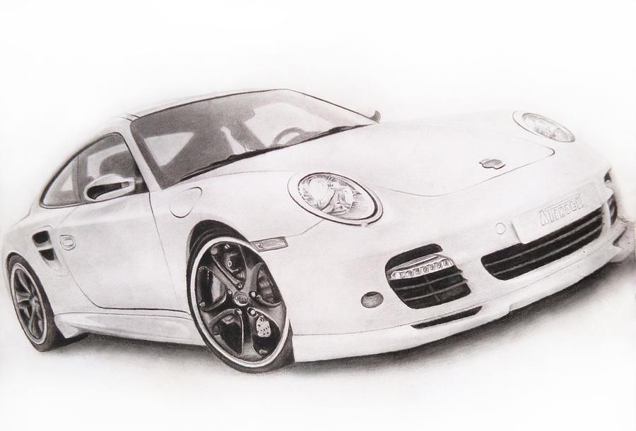 Car Drawing - Char-car by Atinderpal Singh