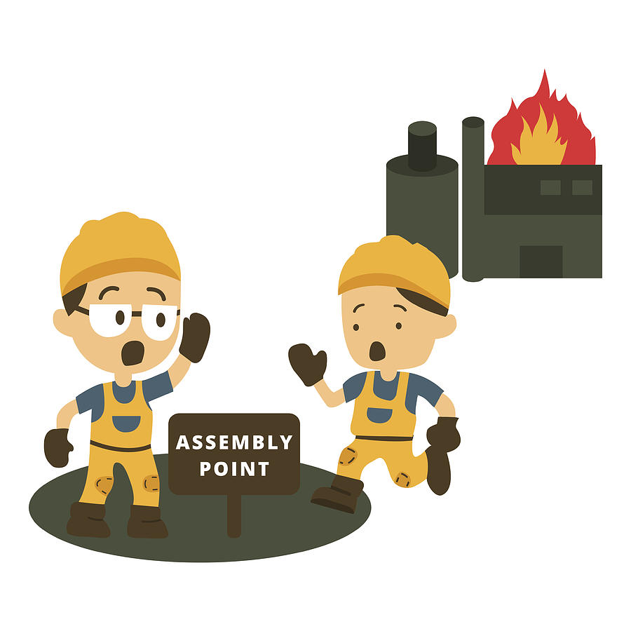 character construction worker running go to assembly point