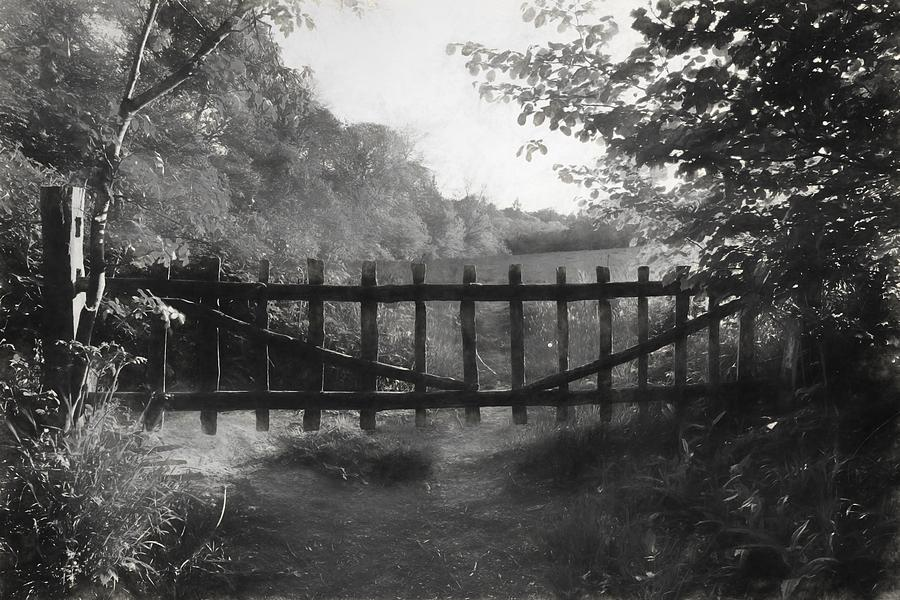 Charcoal Drawing Image Lovely Old Gate Into Countryside