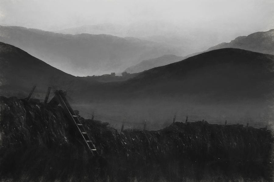 Landscape Photograph - Charcoal Drawing Image View Along Misty Valley Towards Snowdonia Mountains by Matthew Gibson