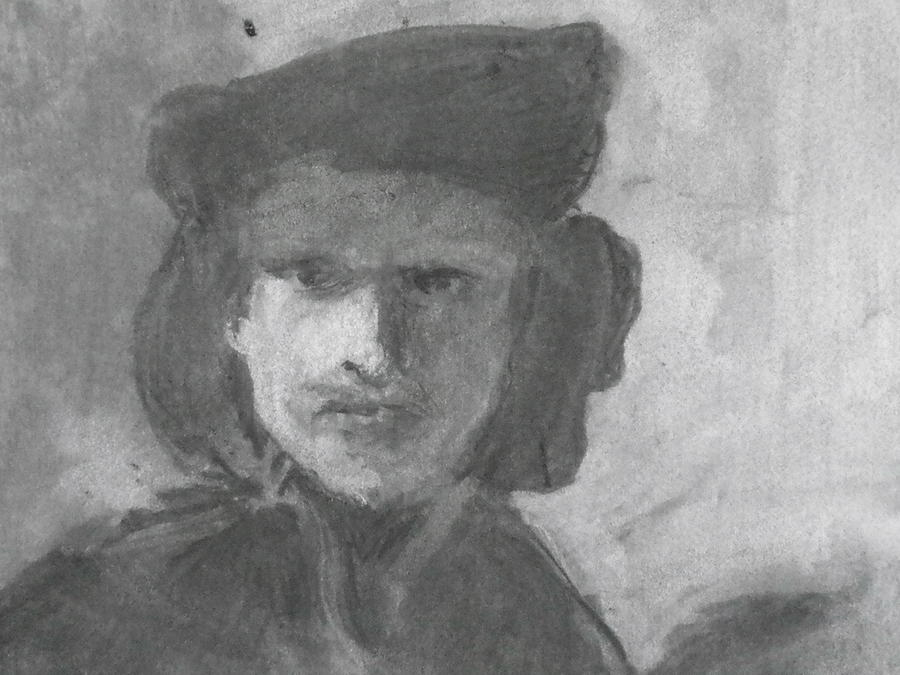 Charcoal Study Of Rembrandt  Self-portrait With Velvet Beret Drawing by Anna Ruzsan