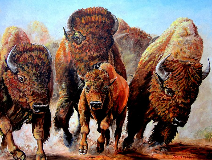 Charging Buffalo Painting By Ruanna Sion Shadd A Dann L Yoder