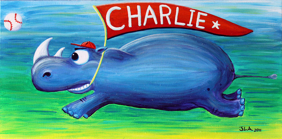 Rhino Painting - Charging Charlie by Jennifer Alvarez