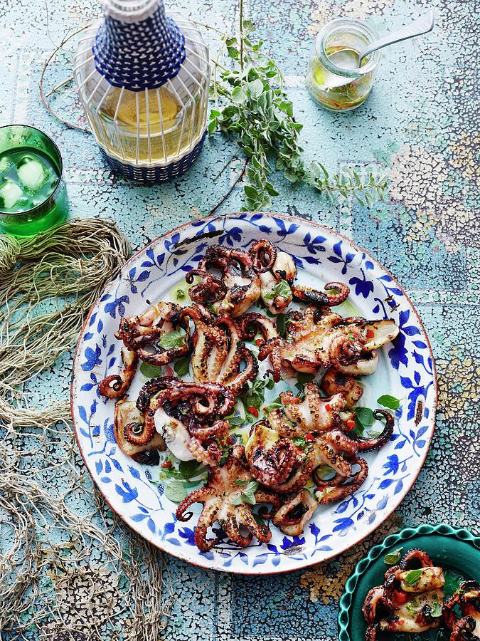 Chargrilled Lemon Oregano Octopus Photograph by Brett Stevens