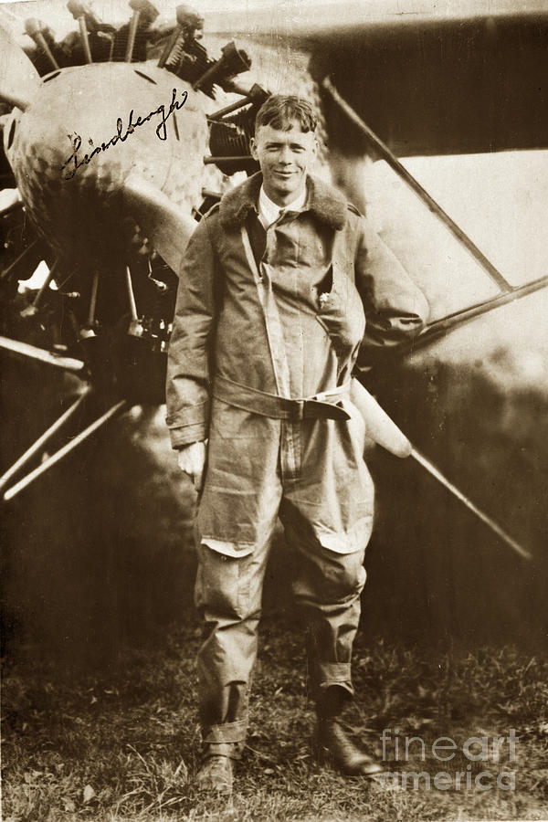 Charles A. Lindbergh Photograph - Charles A. Lindbergh and Spirit of St. Louis May 12 1927 by California Views Archives Mr Pat Hathaway Archives