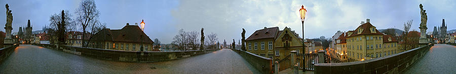 Panoramic Photographs Photograph - Charles Bridge 360 by Gary Lobdell