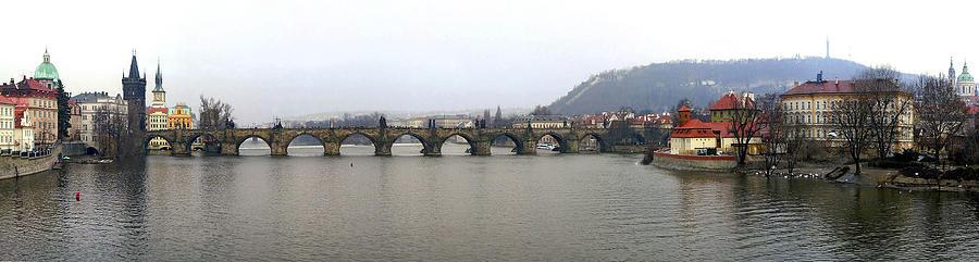 Panoramic Photographs Photograph - Charles Bridge by Gary Lobdell