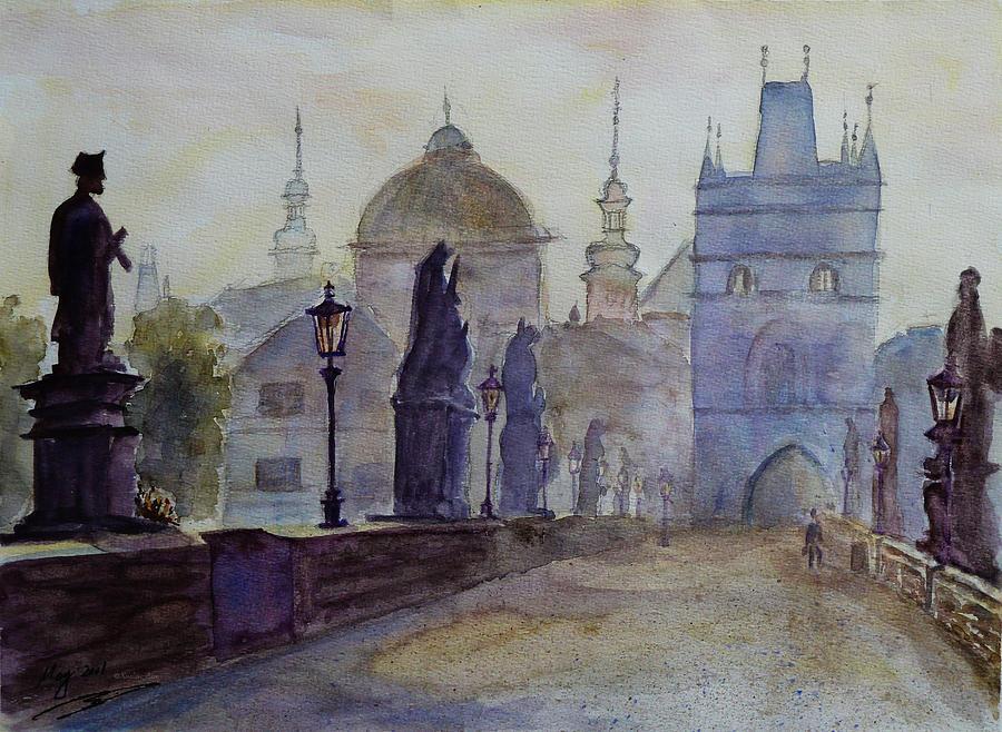 Dawn Painting - Charles Bridge Prague by Xueling Zou