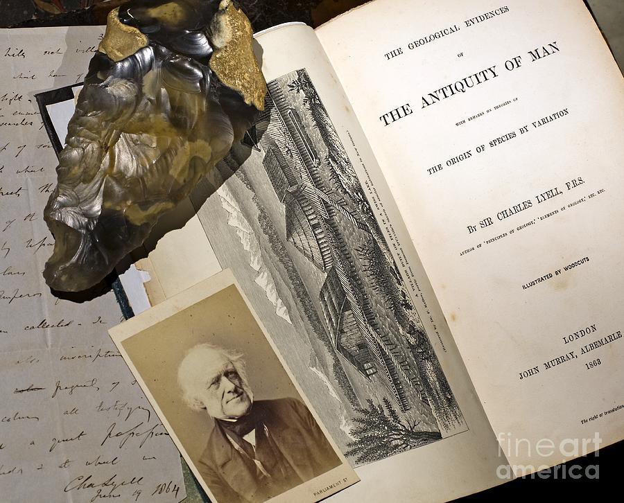 Biface Photograph - Charles Lyells Antiquity Of Man 1863 by Paul D Stewart