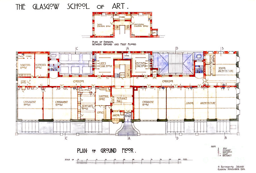 Charles Rennie Mackintosh Glasgow School Of Art Plan Of Ground Floor Drawing By Elaine Mackenzie