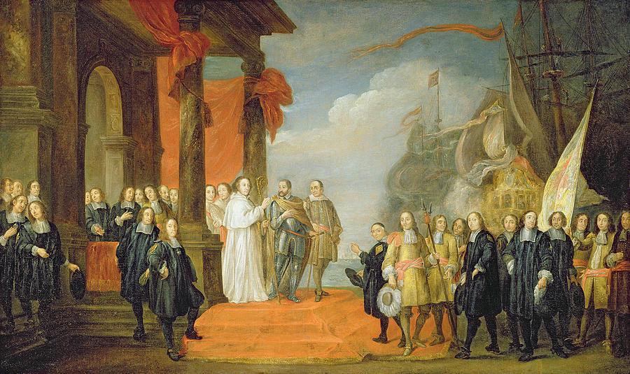 Habsburg Painting - Charles V Leaving The Town Of Dort by David the Elder Teniers