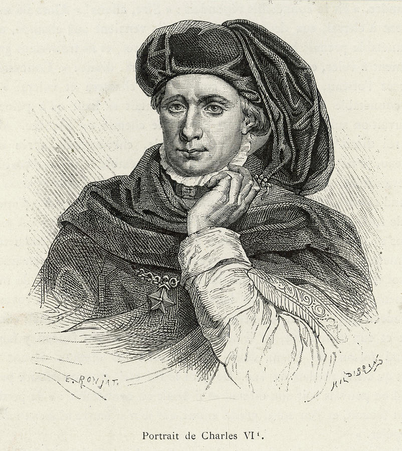 Charles Drawing - Charles Vi Of France Also Known As le by Mary Evans Picture Library