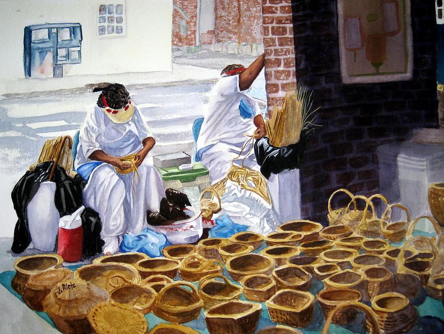 Charleston Basket Weavers Painting By Julia Rietz