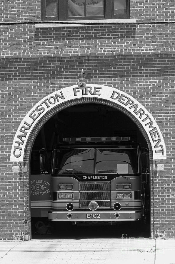 Fire Department Photograph - Charleston Fire Department - Black And White by Suzanne Gaff