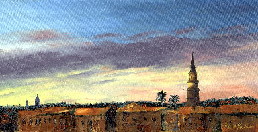Sunset Painting - Charleston Rooftop Sunset by Rosie Phillips