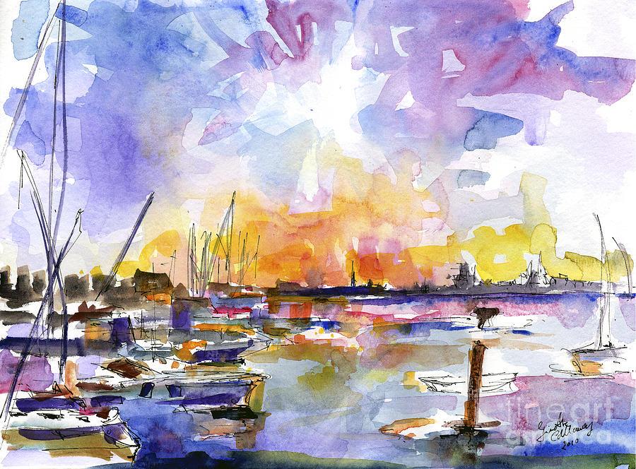 Charleston Skyline Sunset Mt Pleasant Marina Painting by Ginette Callaway