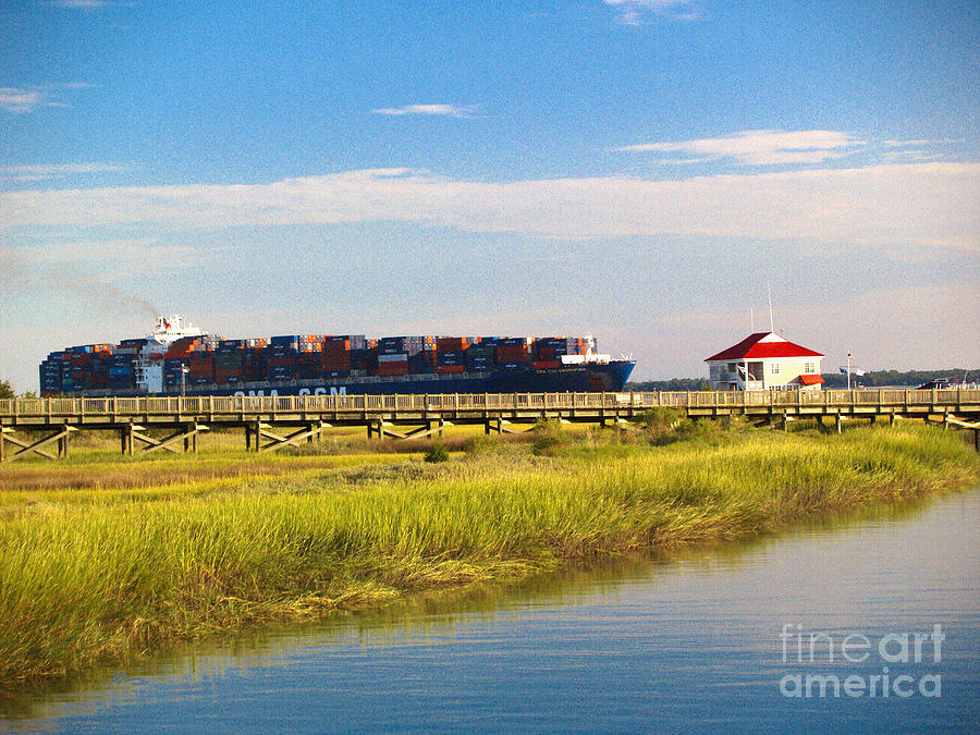 Charleston South Carolina Container Ship Photograph by Ginette Callaway