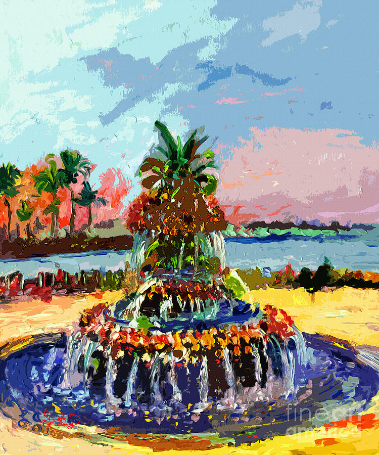 Abstract Painting - Charleston South Carolina Pineapple Fountain Painting by Ginette Callaway