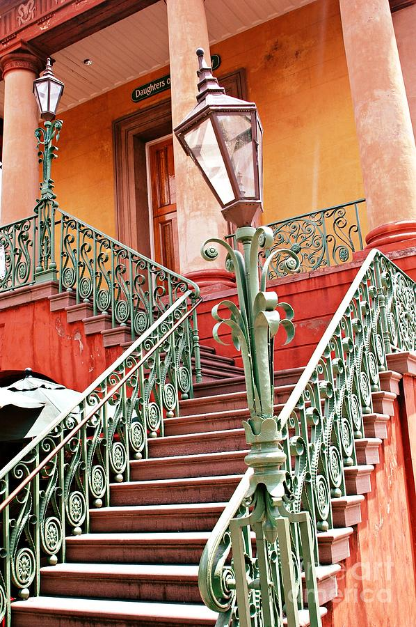 Charleston Staircase Street Lamps Architecture Photograph by Kathy Fornal