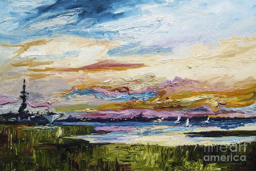 Charleston Sunset USS Yorktown Painting by Ginette Callaway