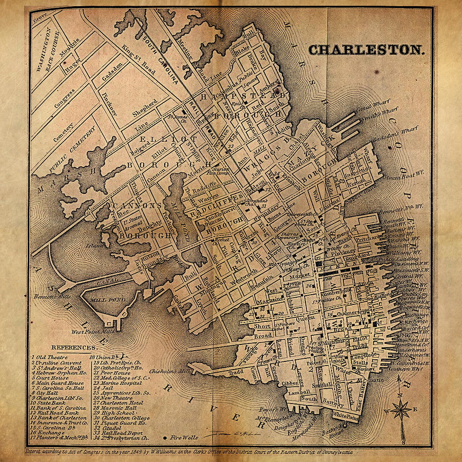 Charleston Vintage Map No I Painting by James Christopher Hill