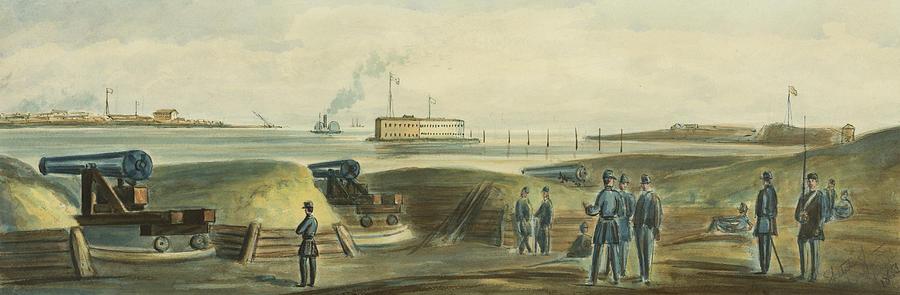 Harbor Drawing - Charlestons Defense Circa 1863 by Aged Pixel