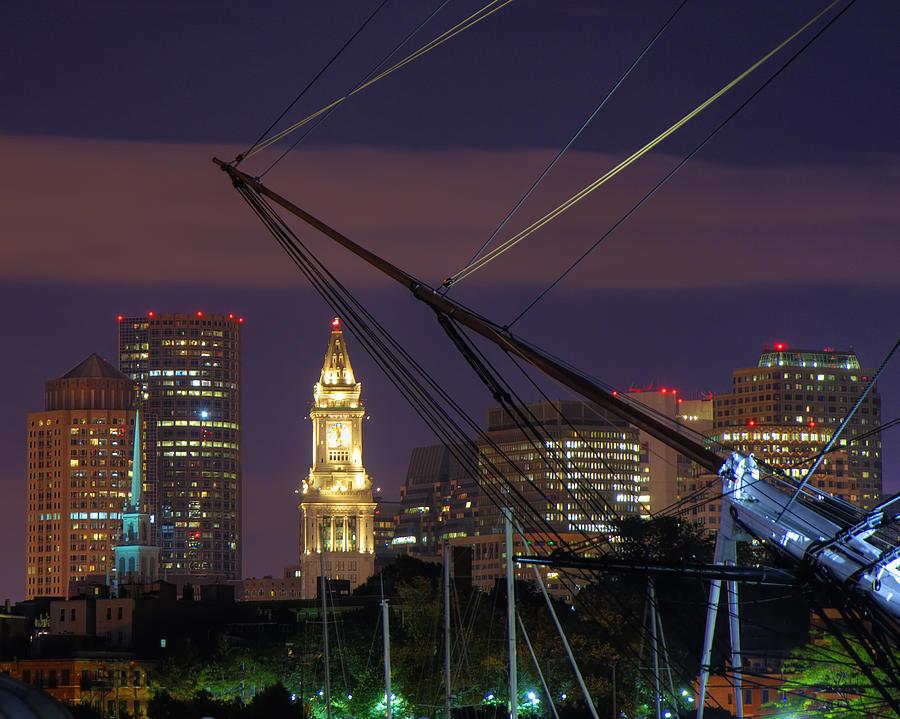 Boston Photograph - Charlestown Navy Yard And The Custom House by Joann Vitali