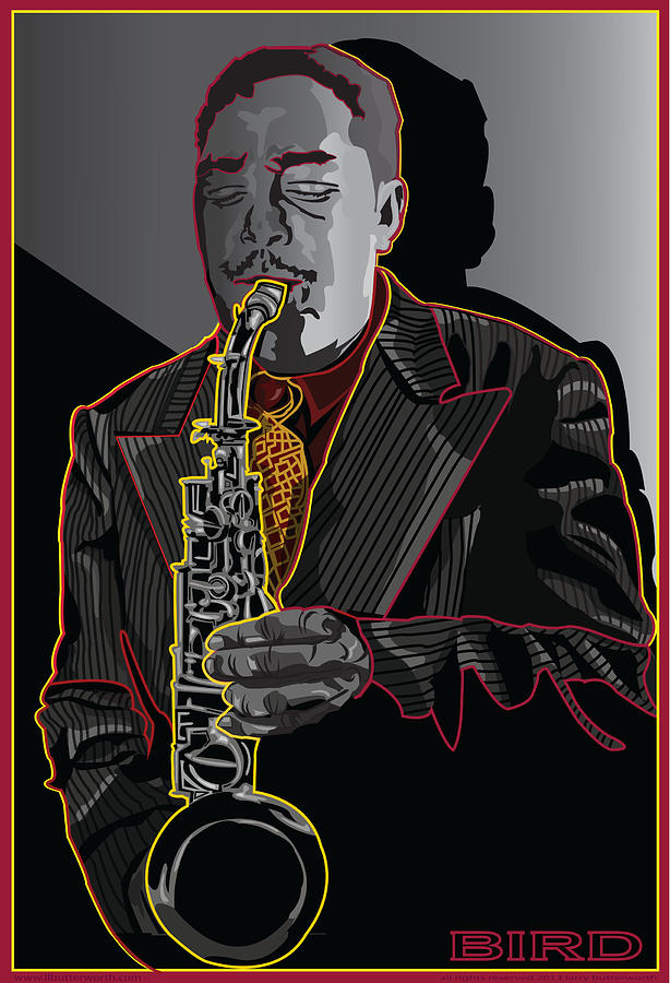 Charlie Parker Digital Art - Charlie Parker Jazz  Saxophone Legend by Larry Butterworth