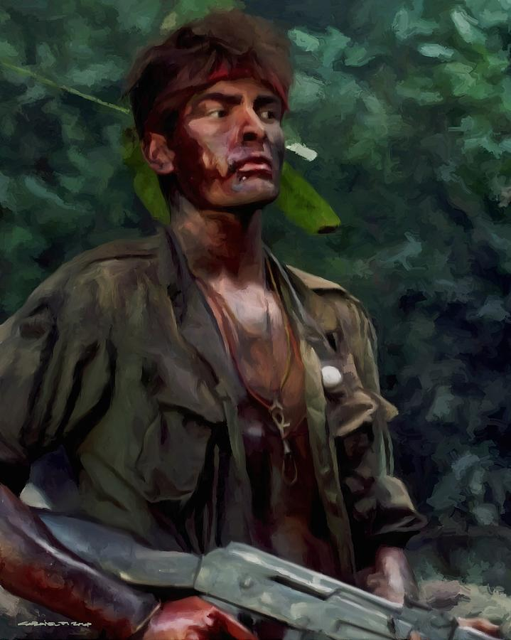 Platoon Digital Art - Charlie Sheen In Platoon by Gabriel T Toro