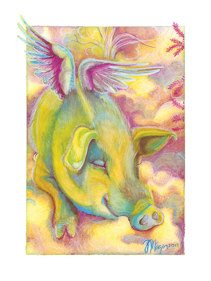 Pig Painting - Charlies Angel by JA Mager